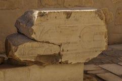 Les vieux hiéroglyphes de l'Egypte ont découpé sur la pierre image libre de droits