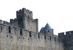 Les vieux murs ont enrichi du château de Carcasson, France images stock
