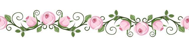 Les vignettes sans couture horizontales de vintage avec la rose de rose bourgeonne. Illustration de vecteur. illustration stock
