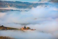 Les vignobles automnaux et le matin embrument sur les collines Photo stock