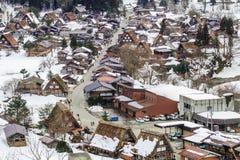 Les villages historiques de Shirakawa-vont en hiver, un site de patrimoine culturel du monde à Gifu, Japon photo libre de droits