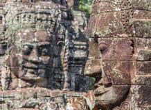 Les visages découpés d'Angkor Thom, Cambodge photographie stock