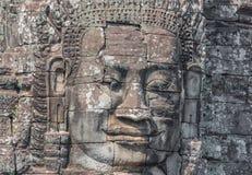 Les visages découpés d'Angkor Thom, Cambodge image stock