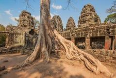 Les visages découpés d'Angkor Thom, Cambodge images stock