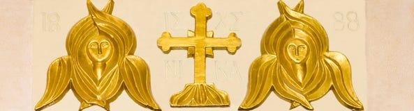 Les visages des anges dans l'église orthodoxe grecque Images stock