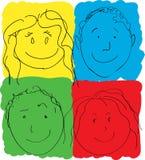 Les visages des enfants, couleurs primaires Images libres de droits