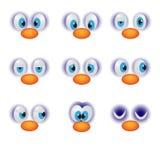 Les visages drôles de bande dessinée avec l'émoticône heureuse de caractère d'oeil d'émotions dirigent l'illustration Photo stock