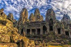 les visages en pierre de bayon des personnes, Siem Reap, Cambodge, étaient inscri Photo stock