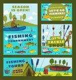 Les visites de mer de période de pêche, attirail de pêcheur font des emplettes illustration stock