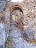 Les voies antiques de la ville médiévale de Mythos, Grèce photo stock