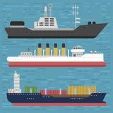 Les voiliers de vecteur d'industrie de voyage de navire de symbole de mer de bateau de croiseur de bateau croisent ensemble d'icô Photo libre de droits