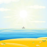 Les voiliers silhouettent avec Sunny Sea Background Photo stock