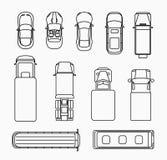 Les voitures amincissent la ligne vue supérieure d'icônes Photo stock