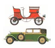 Les voitures classiques antiques/ont placé de deux voitures classiques antiques photos libres de droits