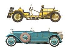 Les voitures classiques antiques/ont placé de deux voitures classiques antiques images libres de droits