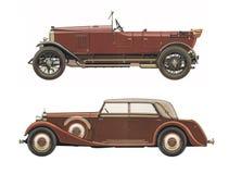 Les voitures classiques antiques/ont placé de deux voitures classiques antiques photo libre de droits