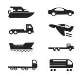 Les voitures d'icônes de transport embarque l'ensemble de Vectord'avionsde trains Image stock