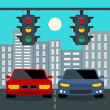 Les voitures s'arrêtent au fond de concept de feux de signalisation, style plat illustration stock