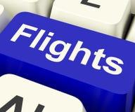 Les vols introduisent au clavier le bleu pour des vacances d'outre-mer Image libre de droits