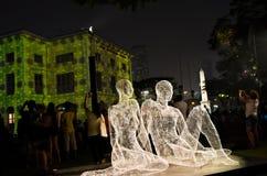Les voyageurs och ljus show under den Singapore floden på nätterna 2015 Arkivbilder