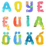 Les voyelles de l'alphabet latin aiment des habitants de mer illustration libre de droits