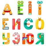 Les voyelles de l'alphabet latin aiment différents robots illustration stock