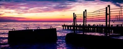 Les vues d'aube de la mer image libre de droits