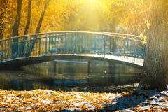 Les vues de l'automne se garent avec les feuilles jaunes sur la neige dans les rayons du soleil et le pont de rivière Image stock