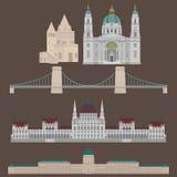 Les vues hongroises de ville dans des éléments Buda d'architecture de voyage et de voyage de point de repère de Budapest Hongrie  Image stock