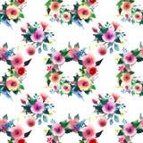 Les wildflowers colorés de beau beau ressort floral mignon sophistiqué lumineux avec des bourgeons tressent le modèle Images libres de droits