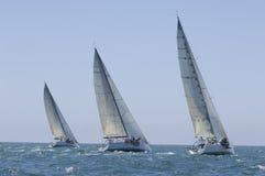 Les yachts concurrencent en Team Sailing Event image libre de droits