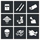 Les Yakuza, icônes de criminalité organisée de Japans réglées Illustration de vecteur Photographie stock