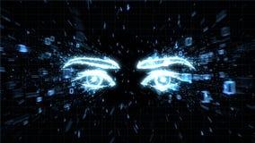 Les yeux d'un pirate informatique, le spyware et les questions d'intimité illustration de vecteur