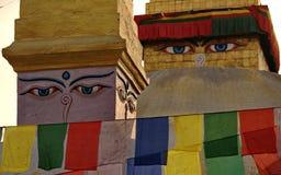 Les yeux de Bouddha à Katmandu Photographie stock libre de droits