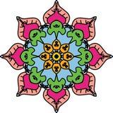 Les yeux de mandala de coloration ont entouré les feuilles saintes de Bodhi illustration libre de droits