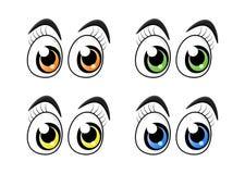 Les yeux de personnage de dessin animé avec des cils ont placé d'isolement sur le blanc de retour illustration stock