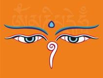 Les yeux ou la sagesse de Bouddha observe - le symbole religieux saint Image libre de droits