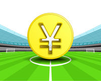 Les yuans d'or inventent dans la zone centrale du vecteur de stade de football Images stock