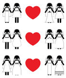Lesbian brides icon set Royalty Free Stock Photography