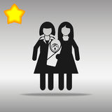 Lesbian Couple With A Baby black Icon button logo Stock Photos