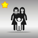 Lesbian Couple With A Baby black Icon button logo Royalty Free Stock Image