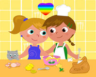 Lesbian couple cooking happily vector illustration stock illustration