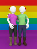 Lesbian couple front view. Front view of a lesbian couple over the gay flag Royalty Free Stock Photography