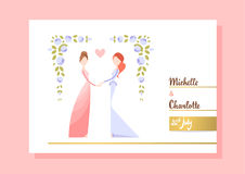 Lesbian couple getting married. Two women holding hands. Vector illustration eps 10 stock illustration