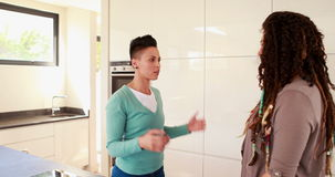 Lesbian couple having an argument in the kitchen. At home stock footage