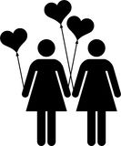 Lesbian couple with heart-shapped balloons. This is a drawn of a lesbian couple with heart-shapped balloons Stock Photography