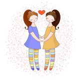 Lesbian couple holding hands. Girls in love. Vector illustration Stock Photo