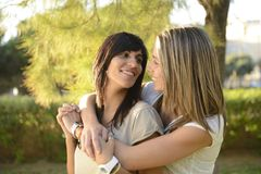 Lesbian couple hugging Stock Photos