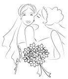 A lesbian couple, just married. Cartoon  art work Stock Photos