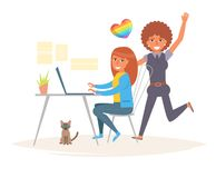 Lesbian couple in the office Royalty Free Stock Image